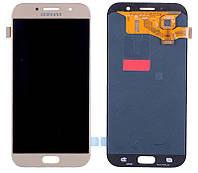 Дисплей для Samsung A720F Galaxy A7 (2017) с тачскрином золотистый, Gold Sand, Оригинал Amoled