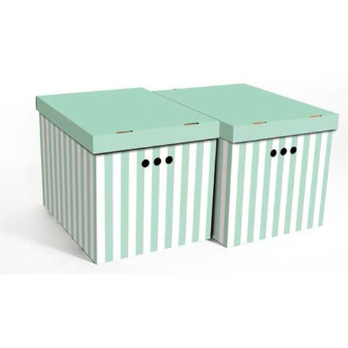 Набор картонных ящиков для хранения XL, зеленые полосы 2шт