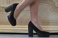 Туфли женские на каблуке эко замш. Подошва: черная и белая. Разные расцветки. Размеры: 36-42,  код 4608О