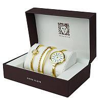 Часы в подарочной упаковке ANNE KLEIN золото белый циферблат (HT406)
