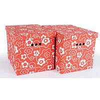 Набір картонних ящиків для зберігання XL, червоний мак 2шт