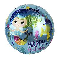 Фольгированный шар 18' Китай Русалочка голубой, 45 см