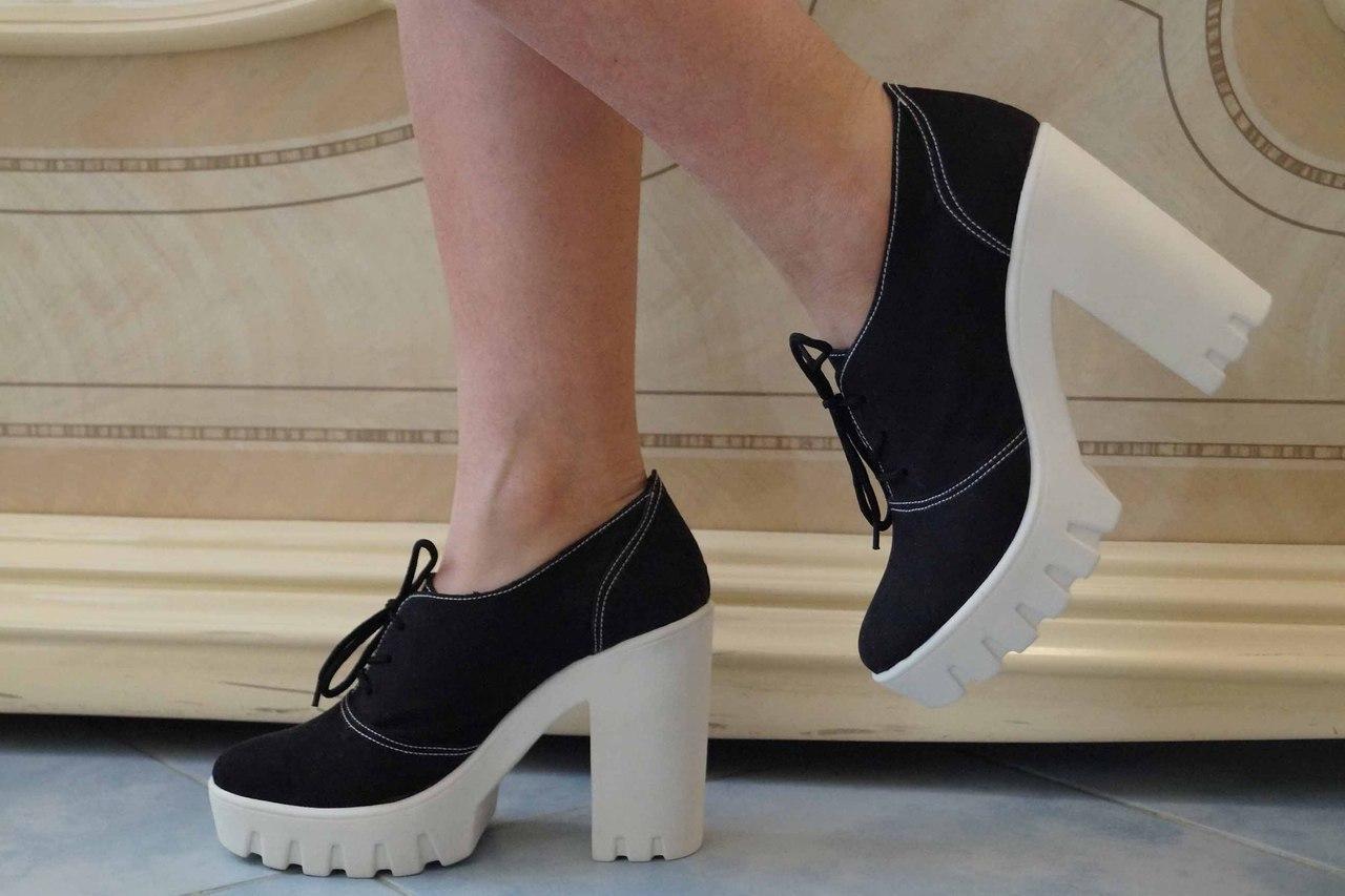 Туфли женские на каблуке эко замш. Подошва: черная и белая. Разные расцветки. Размеры: 36-42, код 4610О