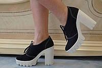 Туфли женские на каблуке эко замш. Подошва: черная и белая. Разные расцветки. Размеры: 36-42, код 4610О, фото 1