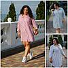 Летнее льняное платье-рубашка в полоску Батал до 54 р 19671