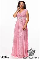 Платье вечернее пудровое в пол большой размер