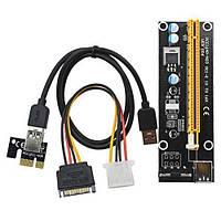PCI-Express PCI-E 1X на 16X райзер V006 Molex USB 3.0 60см майнинг (z03839)