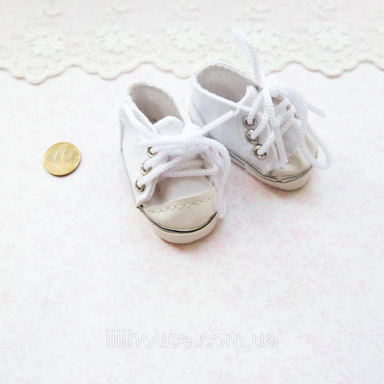 Обувь для кукол Кеды на Шнуровке 6*2.5 см БЕЛЫЕ