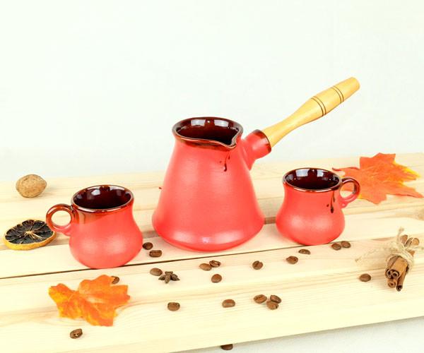 Турка Бразильская красная керамическая с деревянной ручкой в наборе с чашками 300 мл
