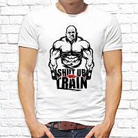 """Мужская футболка с принтом """"Shut up and train"""" Push IT"""