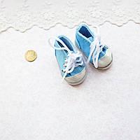 Обувь для кукол, кеды на шнурках голубые - 6*2.5 см
