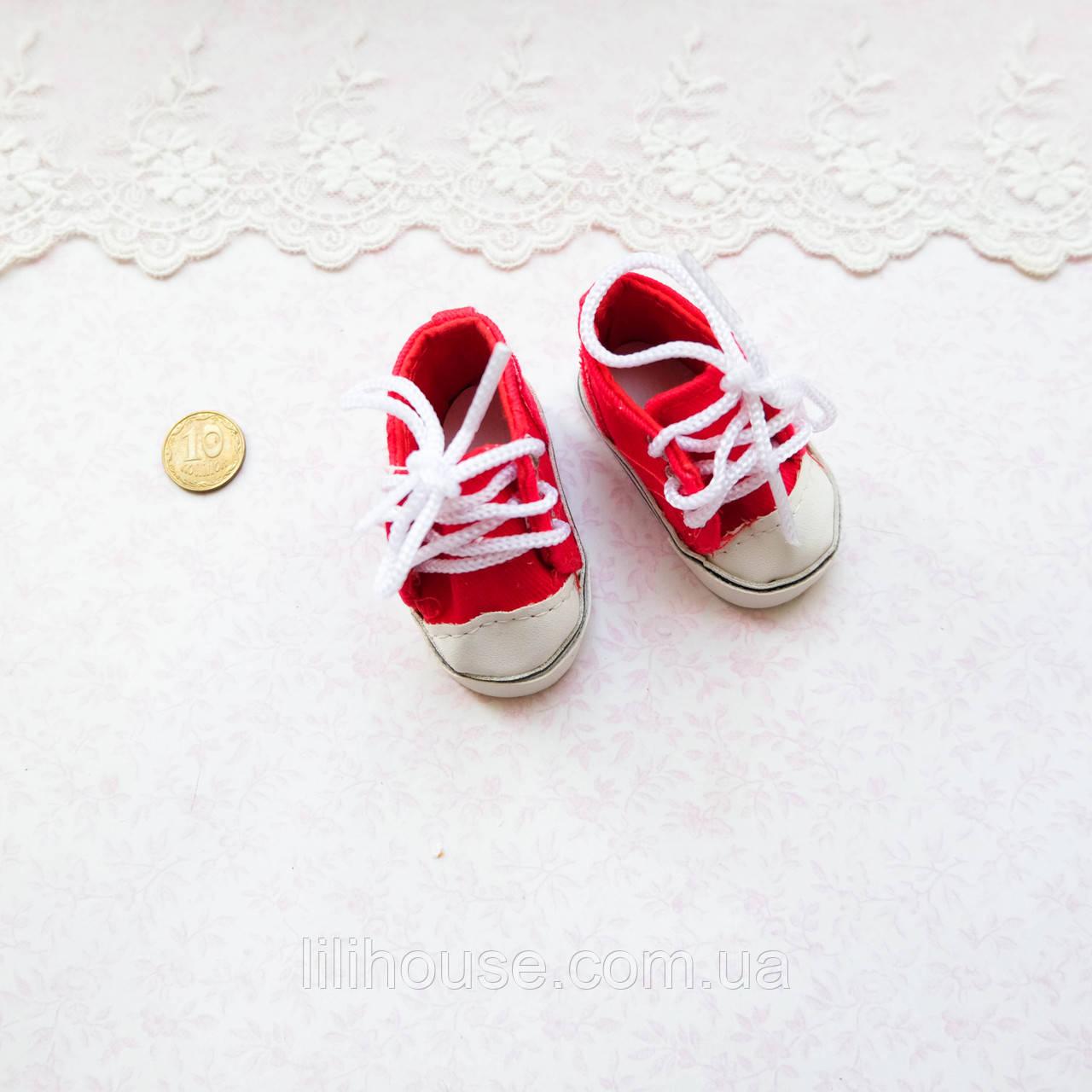 Обувь для кукол Кеды на Шнуровке 6*2.5 см КРАСНЫЕ