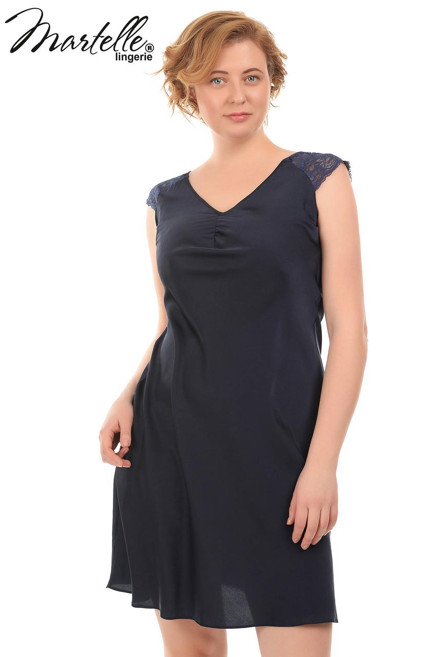 Шелковая ночкая рубашка с кружевными рукавами Martelle Lingerie (большие размеры)