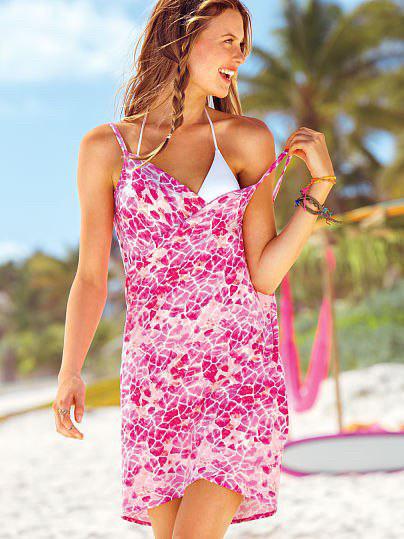 Пляжная туника Victoria's Secret розовый принт