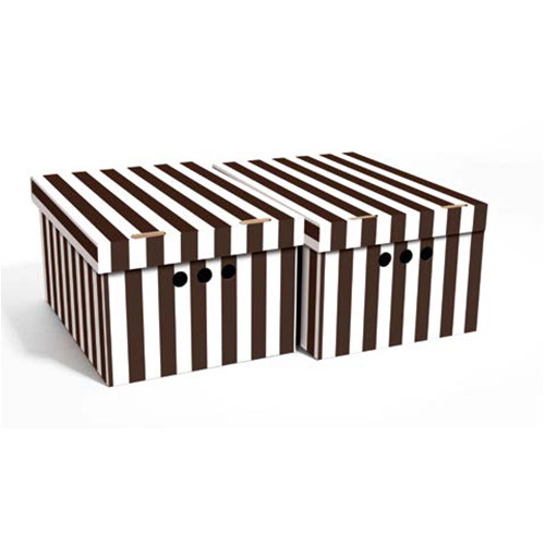Набор картонных ящиков для хранения А4, коричневые полосы 2шт