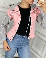 Женская джинсовая куртка с капюшоном (м. 785) Цвет:красный, чёрный, розовый, хаки, фото 1