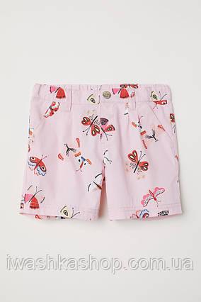 Розовые хлопковые шорты с бабочками на девочек 9 - 10 лет., р. 140, H&M