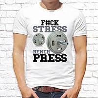 """Мужская футболка с принтом """"F#ck stress Bench press"""" Push IT"""