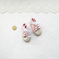 Обувь для кукол, кеды на шнурках розовые - 6*2.5 см