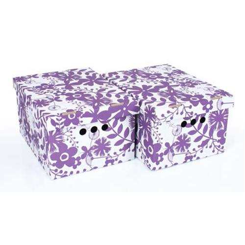 Набір картонних ящиків для зберігання А4, фіолетові квіти 2шт
