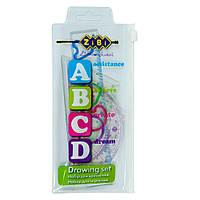 """Комплект """"ABCD"""": Лінійка 15см, 2 косинця, транспортир, прозорий /200/"""