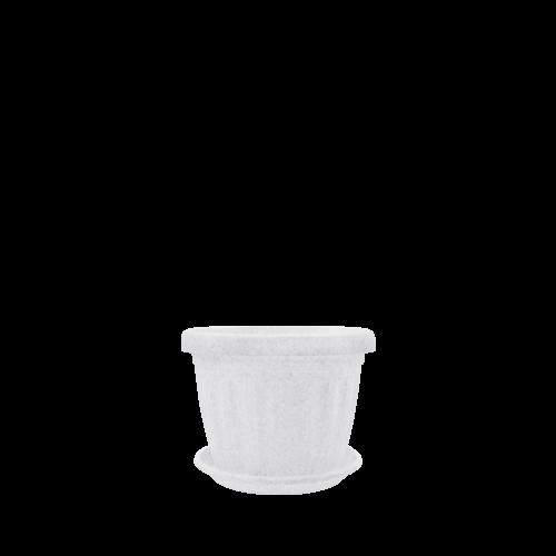 Горшок цветочный Дама   8*8  , белый флок ,  Украина