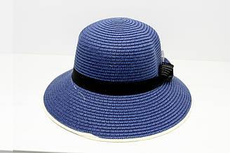 Женская летняя пляжная шляпа канотье от солнца синего цвета с бантом