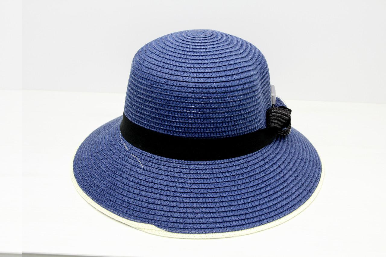 Жіноча літнє пляжна капелюх канотьє від сонця синього кольору з бантом