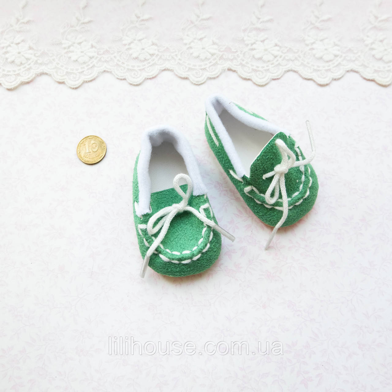 Обувь для кукол Мокасины Замша 7*3 см ЗЕЛЕНЫЕ