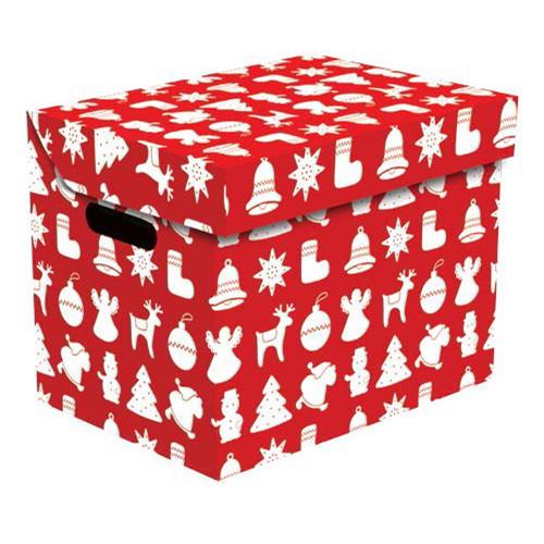 Ящик для хранения картонный ONE, рождество красный