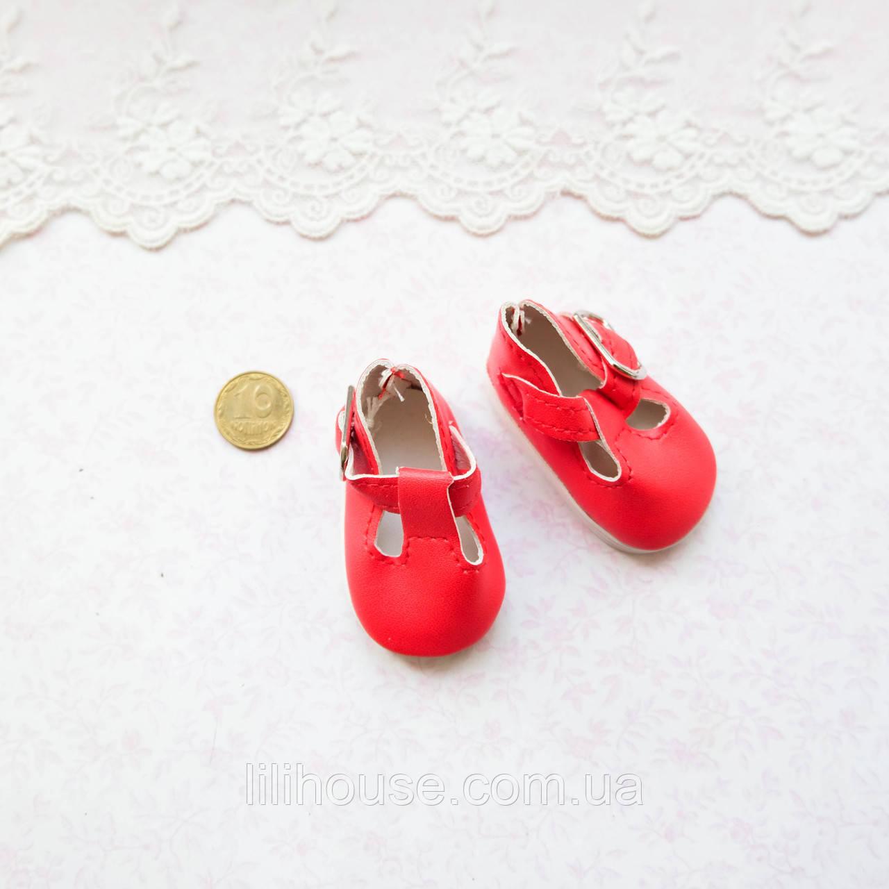 Обувь для кукол Туфли с Ремешком Округлые 5*2.8 см КРАСНЫЕ