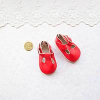 Обувь для кукол, туфельки с ремешком , красные - 5*2.8 см