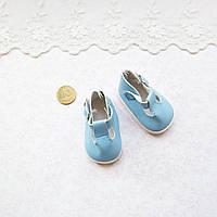 Обувь для кукол, туфельки с ремешком , голубые - 5*2.8 см