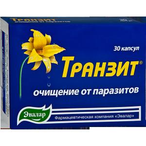"""БАД""""Транзит""""- очищение организма от паразитов (капс.30 по 0,42 г Эвалар)"""
