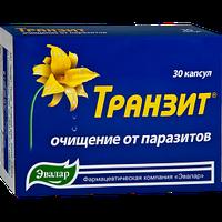 """Натуральный препарат от глистов""""Транзит""""- очищение организма от паразитов (капс.30 по 0,42 г Эвалар)"""