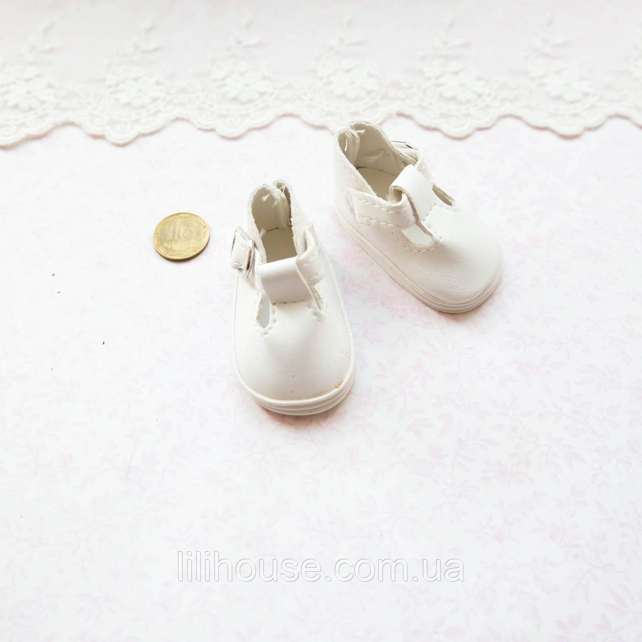 Обувь для кукол Туфли с Ремешком Округлые 5*2.8 см БЕЛЫЕ