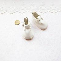 Обувь для кукол Туфли с Ремешком Округлые 5*2.8 см БЕЛЫЕ, фото 1