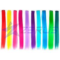 Цветные пряди на заколках для наращивания волос 40 см 10 шт (z04489)