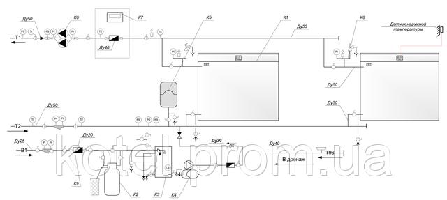 Гидравлическая схема газовой котельной КМ-2-200 КТН 1.100 СЕТ