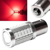 LED 1156 BA15S P21W лампа в автомобиль 33 SMD красная (z03761)