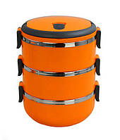 Термо ланч-бокс из нержавеющей стали Easy lock 2.1 литрА три контейнера для еды Разные цвета (NA63)