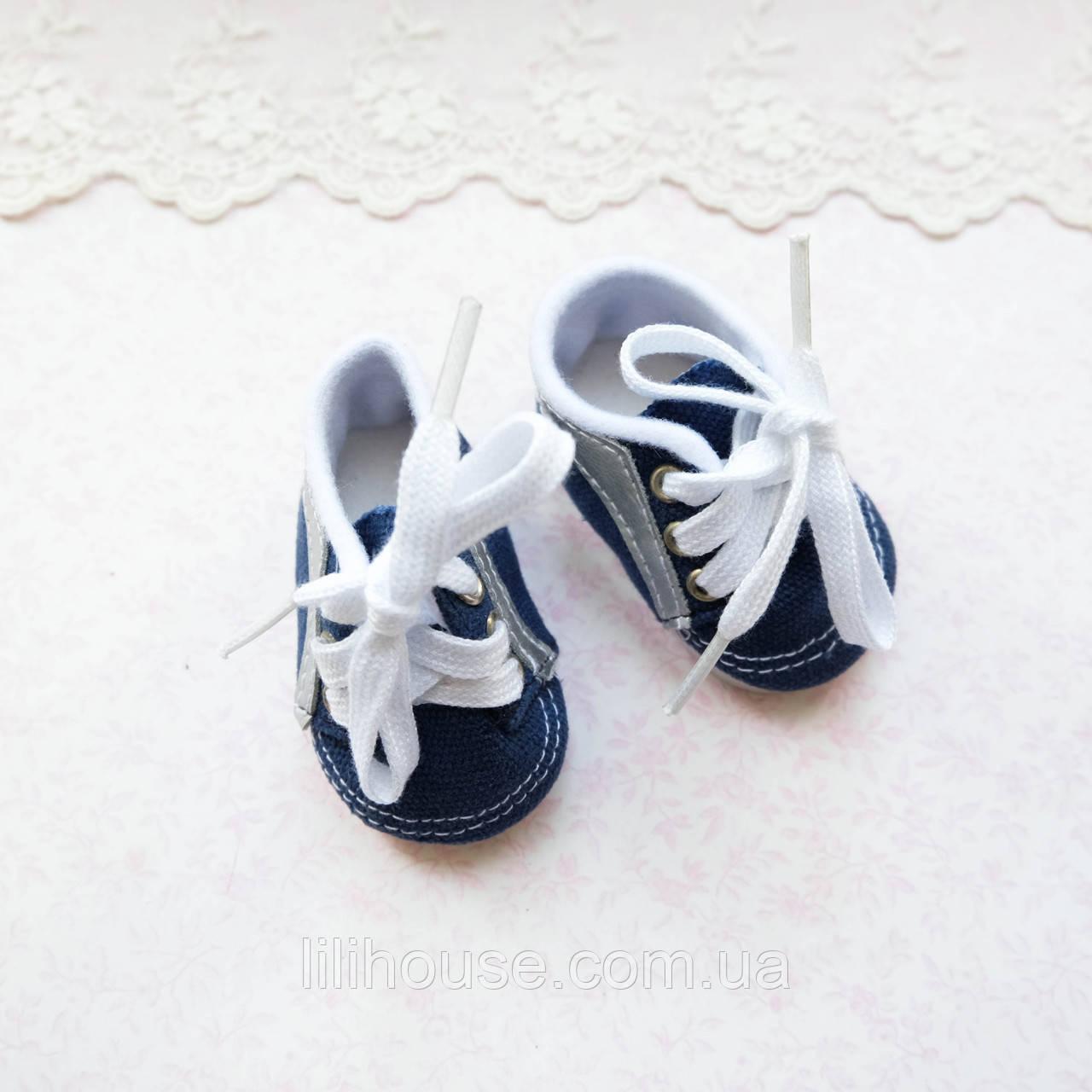 Обувь для Кукол Кеды на Шнуровке со Вставкой из Кожзама - 7*3.5 см СИНИЕ