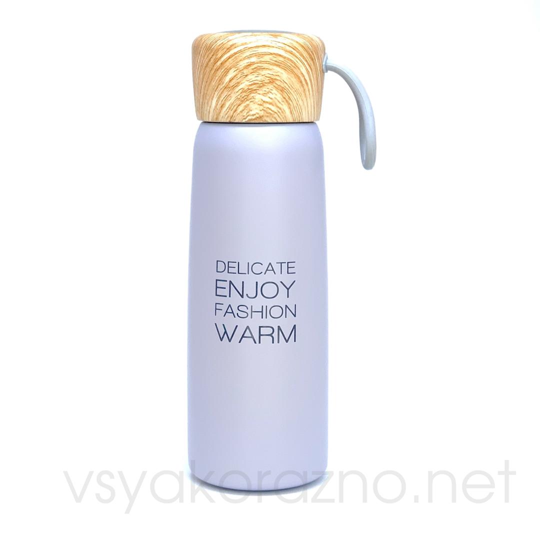 Металлический термос бутылочка 500 мл (серый)