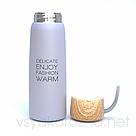 Металлический термос бутылочка 500 мл (серый), фото 2