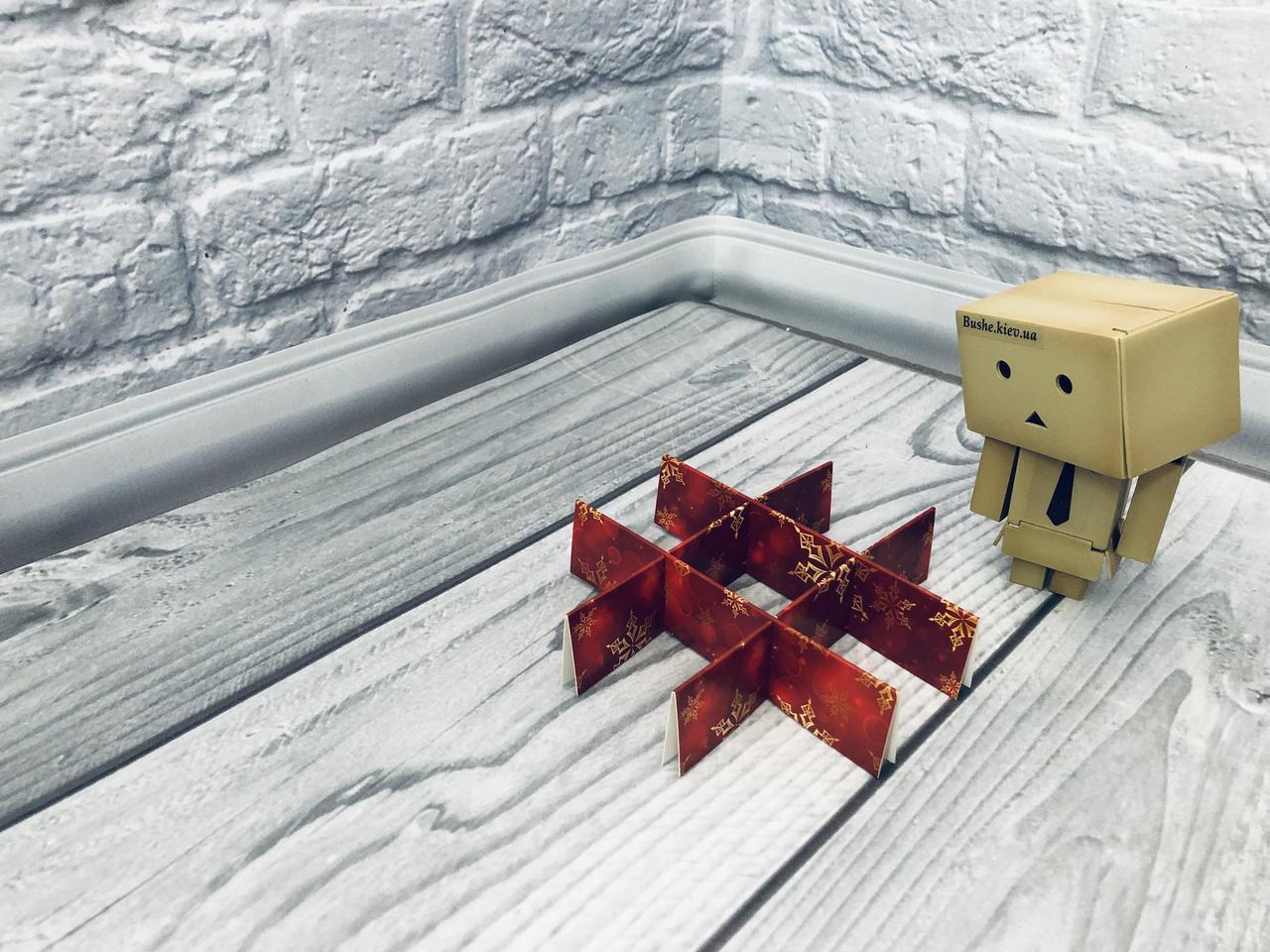 *10 шт* / Перегородка для конфет / 120х120х30 мм / 9 ячеек / Маленьк / печать-Снег.Красн / НГ