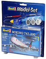 Збірна модель-копія Revell набір Пасажирський літак Боїнг 747-100. Рівень 3 масштаб 1:390 (RVL-64210)