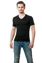 Футболка мужская из вискозы c V-образным вырезом, прилегающего кроя, черная