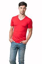 Футболка мужская из вискозы c V-образным вырезом, прилегающего кроя, красная