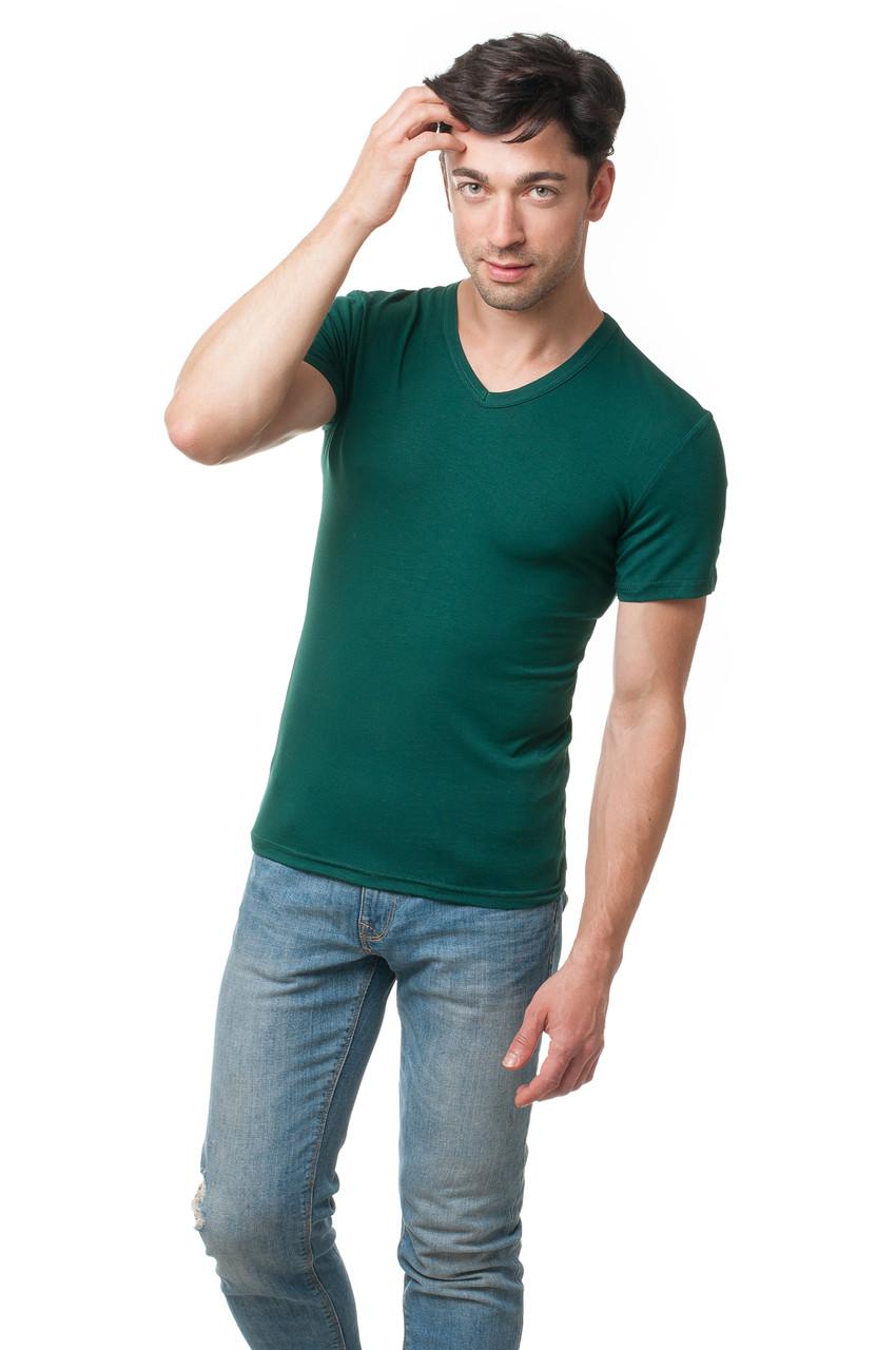 Футболка мужская из вискозы c V-образным вырезом, прилегающего кроя, темно-зеленая