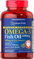 Puritan's Pride Omega-3 Fish Oil, Рыбий жир, Double Strength 1200mg (600 mg Active Omega-3) (90 капс.)